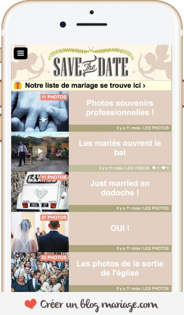création de blog mariage sur mobile